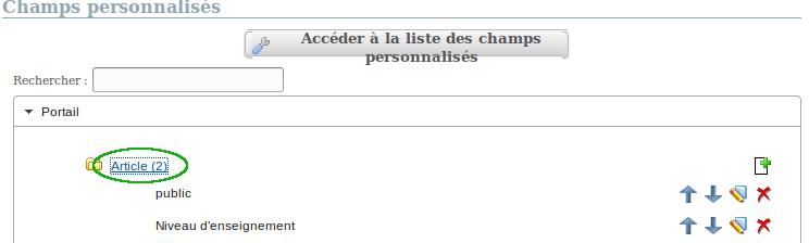 afficher la liste des champs personnalisés d'un model
