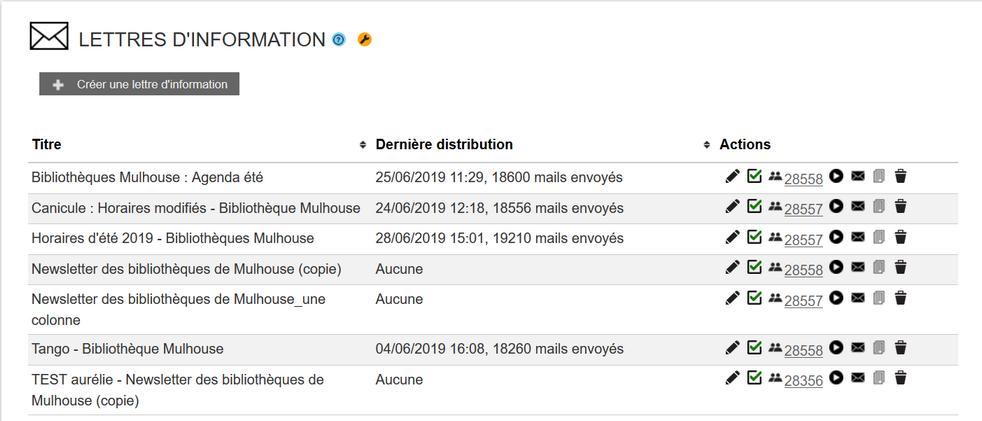 Nombre de destinataire / Nombre d'envois mail