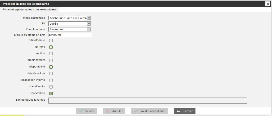 Sélectionner Annexe dans le profil d'exemplaire et décocher bibliothèque